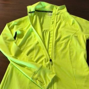 Neon yellow under armour running jacket